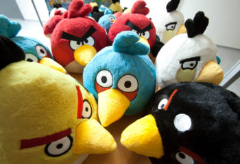 Angry Bird toys are seen on display at the headquarters of the game's developer Rovio Mobile Oy in Espoo, Finland, on Friday, Dec. 3, 2010. Rovio is a star Finnish start-up in a country struggling to fill the gap left by the declining value of its best-known company, Nokia Oyj. Photographer: Henrik Kettunen/Bloomberg